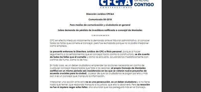 Comunicado CFC sobre demanda de pérdida de investidura