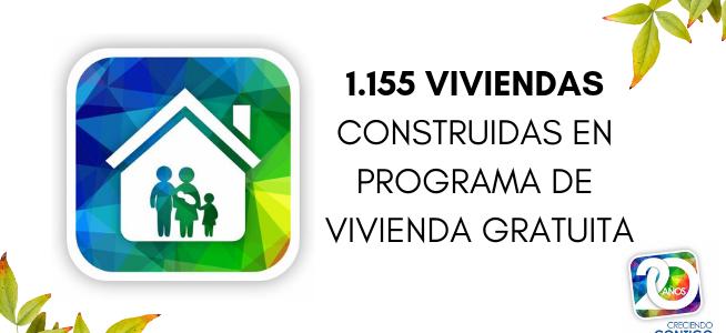 20 años: 1.155 viviendas en programas de vivienda gratuita